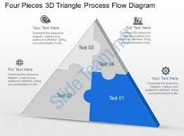 cm four pieces 3d triangle process flow diagram powerpoint