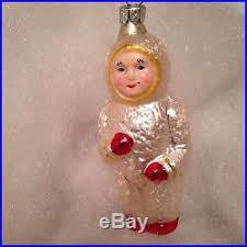 8 vtg antique tree ornaments glass german snow baby