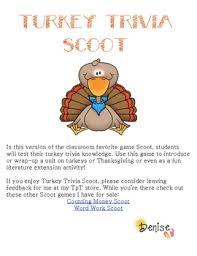 free turkey trivia scoot by sunnydays teachers pay teachers