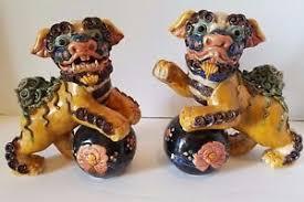 foo dog lion vintage pottery porcelain statue foo dog lion kylin beast