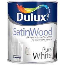 dulux satinwood interior pure white paint 750ml satin topline ie