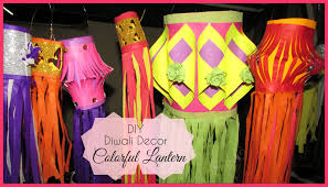 Home Decoration Ideas For Diwali Diy Diwali Decor Colorful Lanterns Youtube