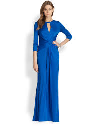 issa silk jersey long sleeve gown in blue lyst