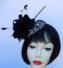 lace fascinator black white lace fascinator