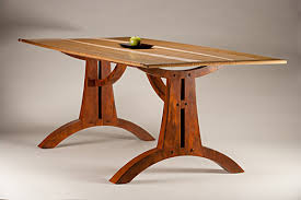 Red Oak Table by Arches Dining Table Curly Sassafras Curly Maple Metalized