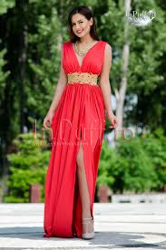 inpuff rochii rochie lunga lycra corai cu broderie aurie