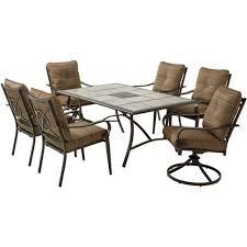 Charleston Outdoor Furniture by Mainstays Charleston Park 7 Piece Dining Set Brown Walmart Com