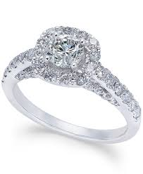 diamond halo rings images Diamond halo engagement ring 1 1 4 ct t w in 14k white gold tif
