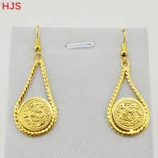 real gold earrings arab coins accessories women party gift 18k real gold plated