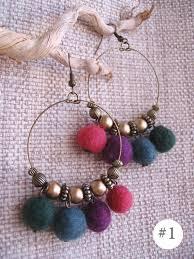 wool felt handmade earrings with dangling colorful felt