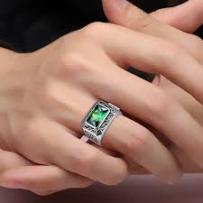 ring for nano russian emerald ring for 925 silver men welcome