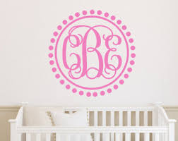 Personalized Wall Decals For Nursery Monogram Wall Decal Twig Wreath Nursery Decal Rustic Nursery