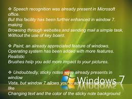 working and features of window 7 agenda introduction to window