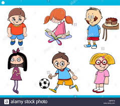 cartoon illustration of age children characters set stock