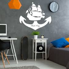 compare prices on pirate wall stickers online shopping buy low sea boat wall sticker pirates sticker sailing style wall decals voyage home decor for bedroom 693q