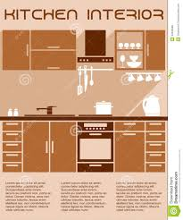 kitchen furniture accessories brown and beige kitchen interior design in flat stock vector