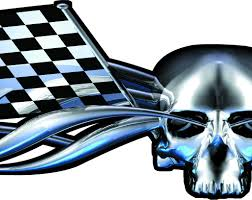 Checker Flag Racing Skull Car U0026 Truck Decal 4ft On Sale Xtreme Digital Graphix