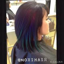 rainbow peekaboo hair green blue purple pink hair www moxihair com