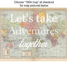 Vintage World Map Canvas by Let U0027s Take Adventures Together Map Print Vintage Map