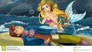 cartoon scene mermaid rescuing prince stock illustration image