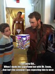 Chris Pratt Meme - chris pratt starlord and chris evans captain america superbowl