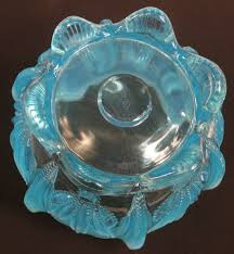art glass cactus ring holder images Fenton for levay blue opal cactus opalescent glass rose bowl jpg