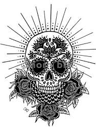 black mexican gangster skull with roses tattoo design latin