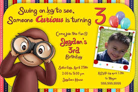 curious george birthday invitations card invitation templates