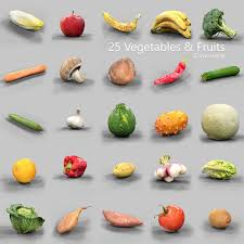 25 fruits and vegetables collection 3d model cgtrader