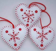 felt christmas ornament handmade heart ornament red and white