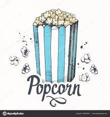 vector illustration with sketch popcorn bucket cinema snack hand