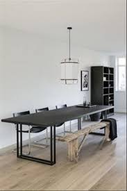 dining room black dining set wooden bench blanket pendant painting