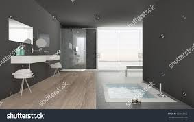 minimalist white gray bathroom bath tub stock illustration