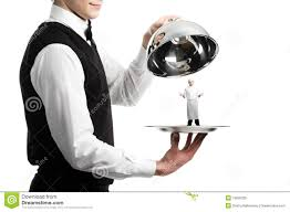 cloche cuisine of waiter with cloche stock image image of chrome plate