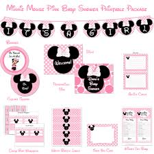 mouse baby shower printable package pink