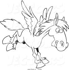 vector of a cartoon winged horse flying coloring page outline by