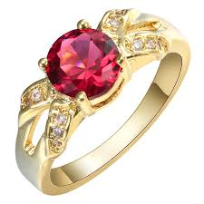wholesale gold rings images 2017 fashion gold ring red cz zircon fashion jewelry wholesale 24k jpg