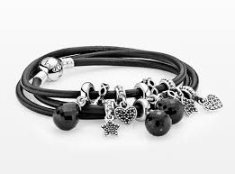 pandora black bracelet with charms images Black leather bracelet with dangle charms hearts stars and jpg