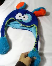 halloween fleece flipeez puppy ear knit beanie cap hat boy one size blue halloween