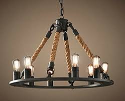 Country Style Chandelier Perfectshow 8 Light Hemp Rope Chandelier Vintage Country