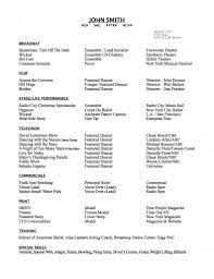 Sample Audition Resume by Resume Dance Resume Template