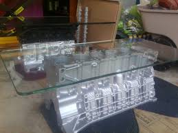 handmade recycled bmw 2 8l aluminum engine coffee table by erik j