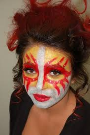 red yellow white face makeup