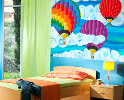 on the bed or on the wall where to place elements of a theme hot air balloon wall mural