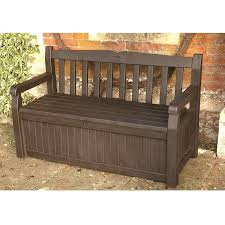 Garden Bench With Storage Keter Iceni Plastic Garden Storage Bench Box Brown