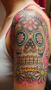 flowers skull tattoomagz
