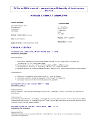 Cover Letter  Utsa Resume Template  undergraduate utsa resume     Rufoot Resumes  Esay  and Templates     Cover Letter  Curriculum Vitae For Mba Student With Profile Informations And Career History As Marketing
