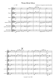 Three Blind Mice Piano Notes Download Three Blind Mice For Flute Quartet Sheet Music By