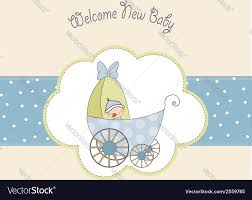 baby boy shower card with stroller royalty free vector image