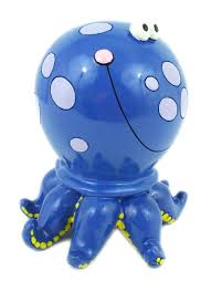 amazon com blue polka dot octopus savings money bank piggy toys